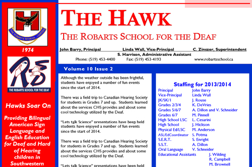 Robarts School newsletter